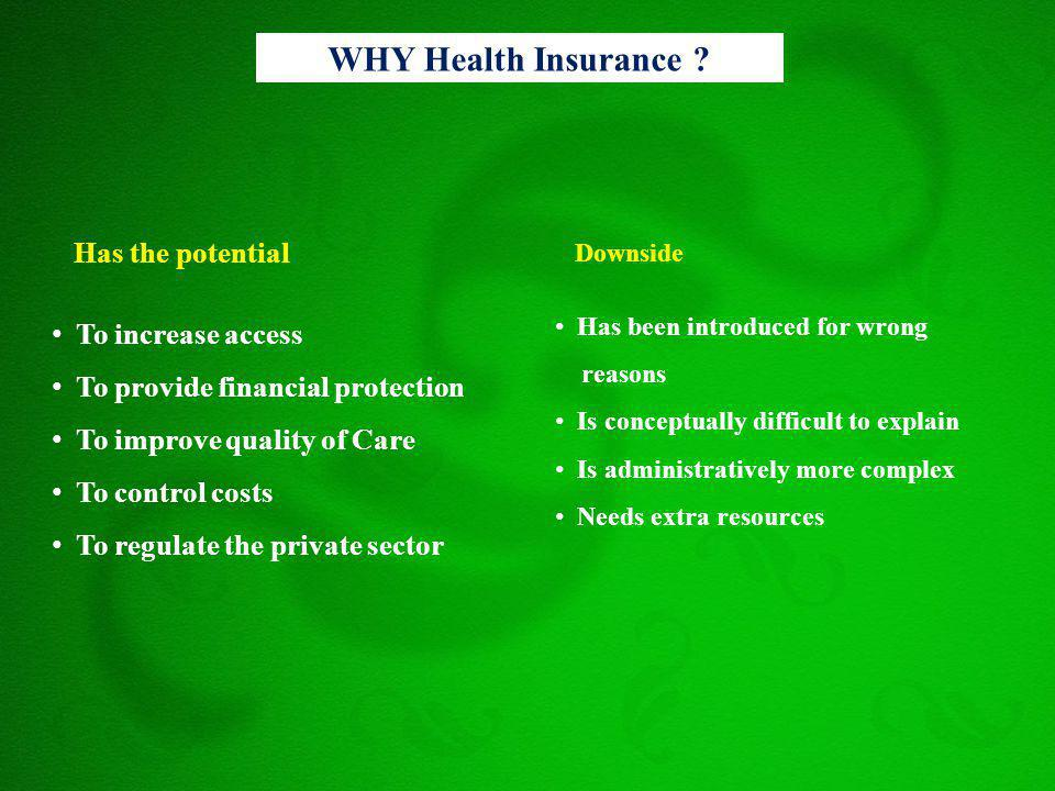 WHY Health Insurance ? Has the potential To increase access To provide financial protection To improve quality of Care To control costs To regulate th