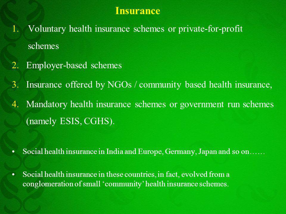 Insurance 1.Voluntary health insurance schemes or private-for-profit schemes 2.Employer-based schemes 3.Insurance offered by NGOs / community based he