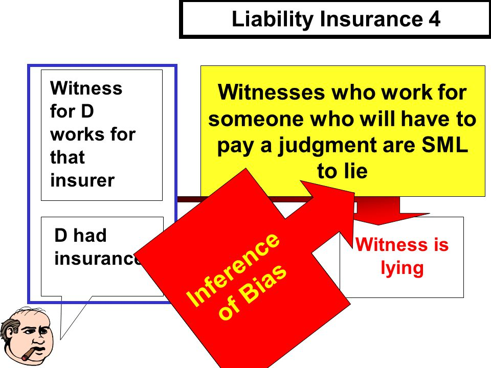 Connecting Fact Witness for D works for that insurer Liability Insurance 4 Witnesses who work for someone who will have to pay a judgment are SML to lie Witness is lying Forbidden Inference.