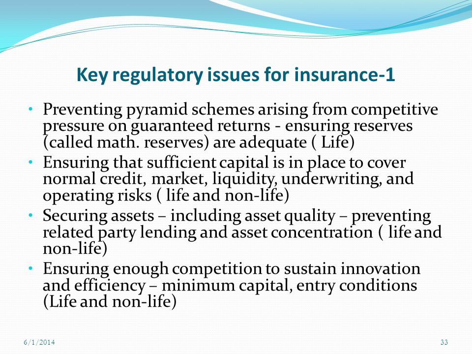 Key regulatory issues for insurance-1 Preventing pyramid schemes arising from competitive pressure on guaranteed returns - ensuring reserves (called m