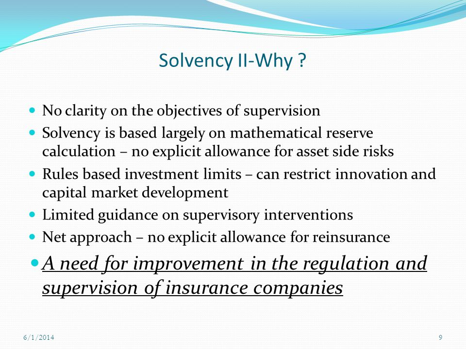 Solvency II-Why ? No clarity on the objectives of supervision Solvency is based largely on mathematical reserve calculation – no explicit allowance fo