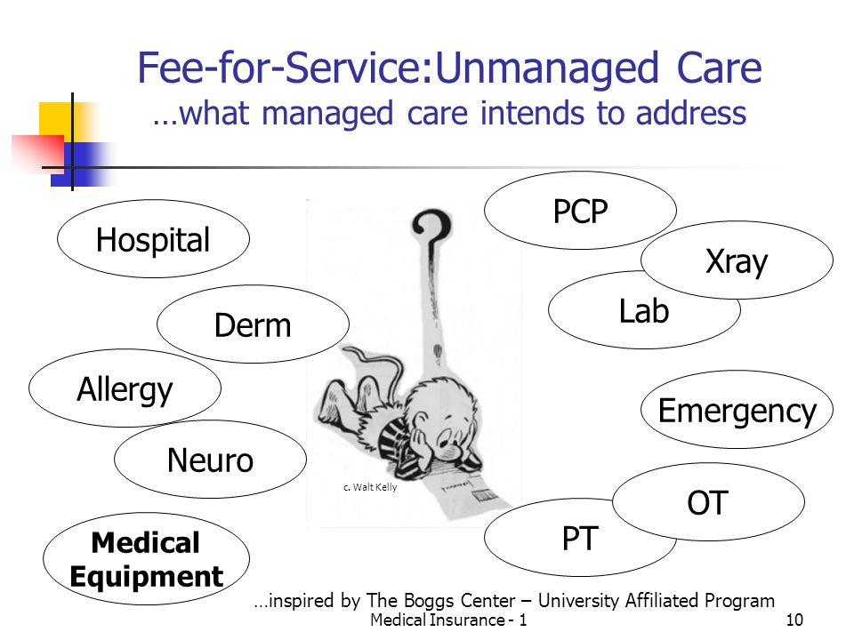 Medical Insurance - 110 Fee-for-Service:Unmanaged Care …what managed care intends to address Hospital Derm Allergy Neuro Medical Equipment PT OT Emergency Lab Xray PCP c.