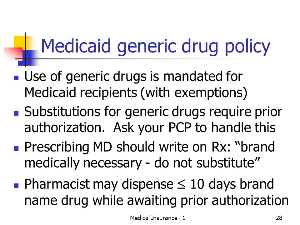 Medical Insurance - 128 Medicaid generic drug policy Use of generic drugs is mandated for Medicaid recipients (with exemptions) Substitutions for generic drugs require prior authorization.