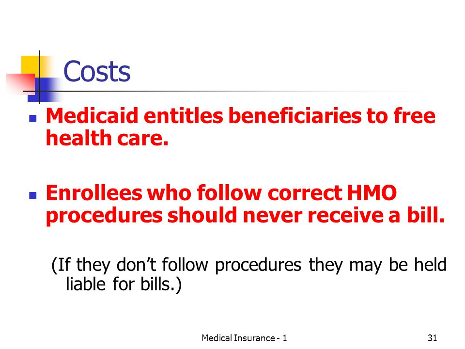 Medical Insurance - 131 Costs Medicaid entitles beneficiaries to free health care.