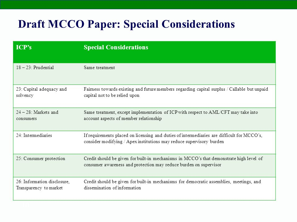 10 Draft MCCO Paper: Special Considerations ICPsSpecial Considerations 18 – 23: PrudentialSame treatment 23: Capital adequacy and solvency Fairness towards existing and future members regarding capital surplus / Callable but unpaid capital not to be relied upon 24 – 28: Markets and consumers Same treatment, except implementation of ICP with respect to AML/CFT may take into account aspects of member relationship 24: IntermediariesIf requirements placed on licensing and duties of intermediaries are difficult for MCCOs, consider modifying / Apex institutions may reduce supervisory burden 25: Consumer protectionCredit should be given for built-in mechanisms in MCCOs that demonstrate high level of consumer awareness and protection may reduce burden on supervisor 26: Information disclosure, Transparency to market Credit should be given for built-in mechanisms for democratic assemblies, meetings, and dissemination of information