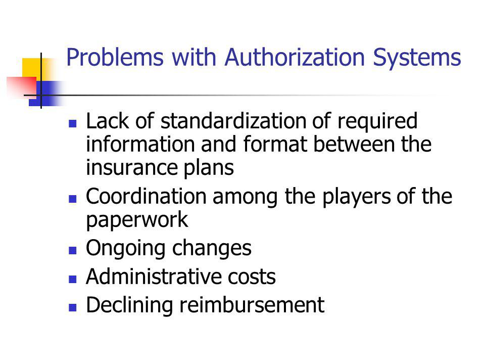 Problems with Authorization Systems Lack of standardization of required information and format between the insurance plans Coordination among the play
