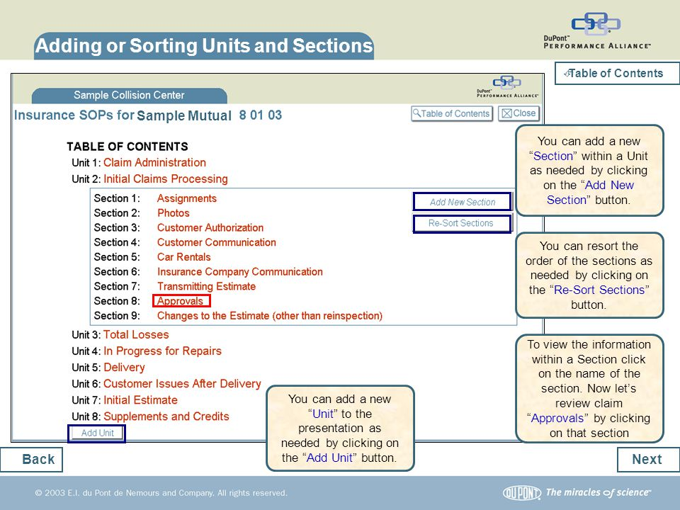 Adding or Sorting Units and Sections Next Back Sample Mutual You can add a newUnit to the presentation as needed by clicking on the Add Unit button. Y