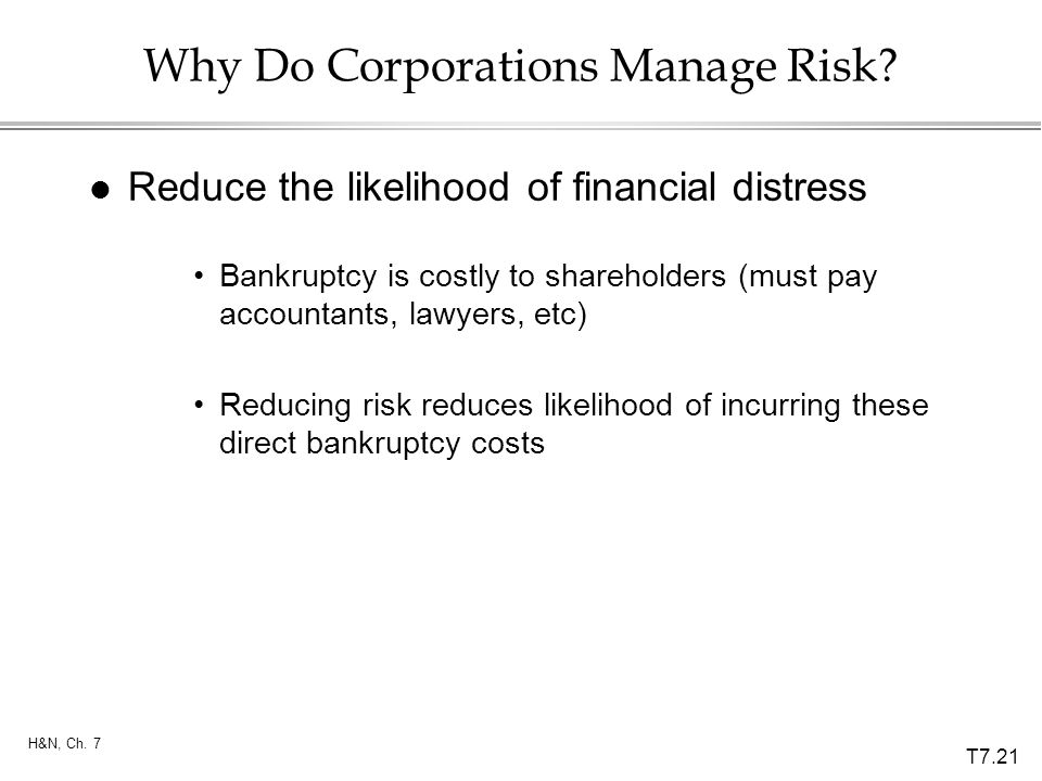 T7.21 H&N, Ch. 7 Why Do Corporations Manage Risk? l Reduce the likelihood of financial distress Bankruptcy is costly to shareholders (must pay account