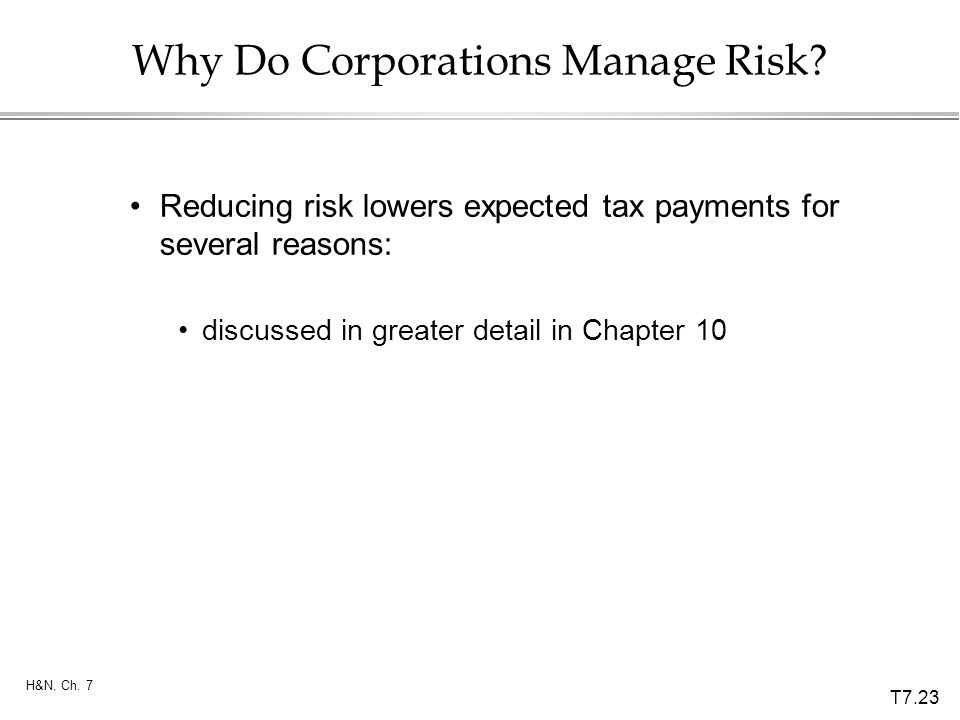 T7.23 H&N, Ch. 7 Why Do Corporations Manage Risk? Reducing risk lowers expected tax payments for several reasons: discussed in greater detail in Chapt
