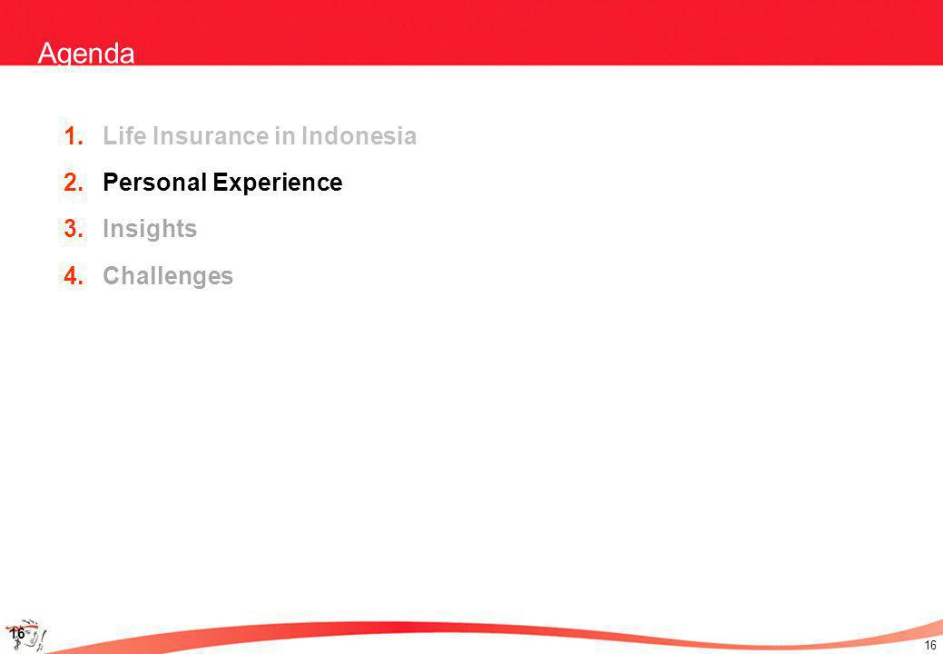 16 Agenda 1.Life Insurance in Indonesia 2.Personal Experience 3.Insights 4.Challenges