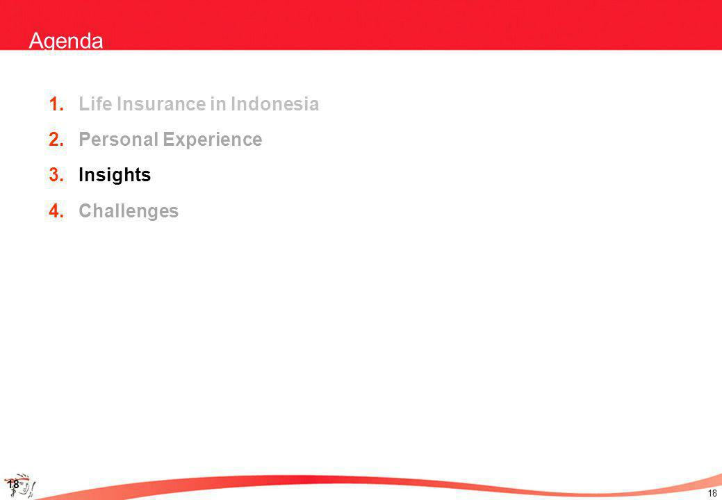 18 Agenda 1.Life Insurance in Indonesia 2.Personal Experience 3.Insights 4.Challenges