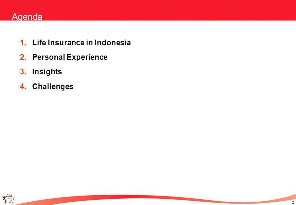 2 2 Agenda 1.Life Insurance in Indonesia 2.Personal Experience 3.Insights 4.Challenges
