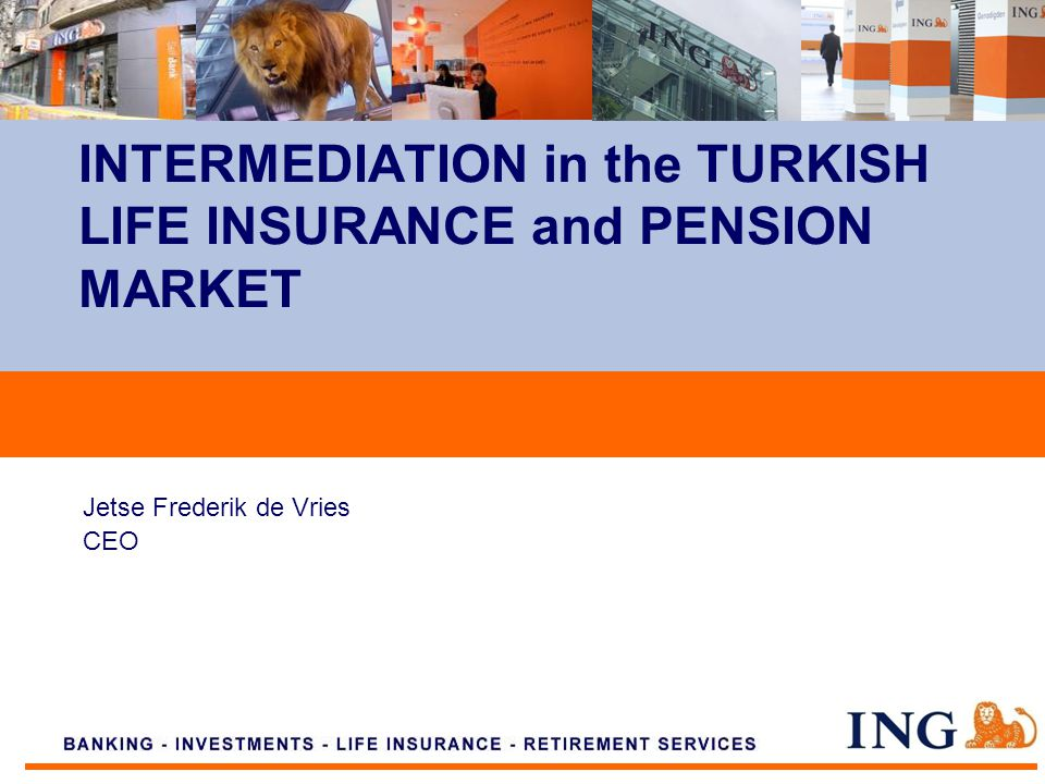 Do not put content on the brand signature area Jetse Frederik de Vries CEO INTERMEDIATION in the TURKISH LIFE INSURANCE and PENSION MARKET