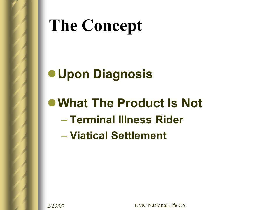 2/23/07 EMC National Life Co. The Concept Upon Diagnosis What The Product Is Not –Terminal Illness Rider –Viatical Settlement