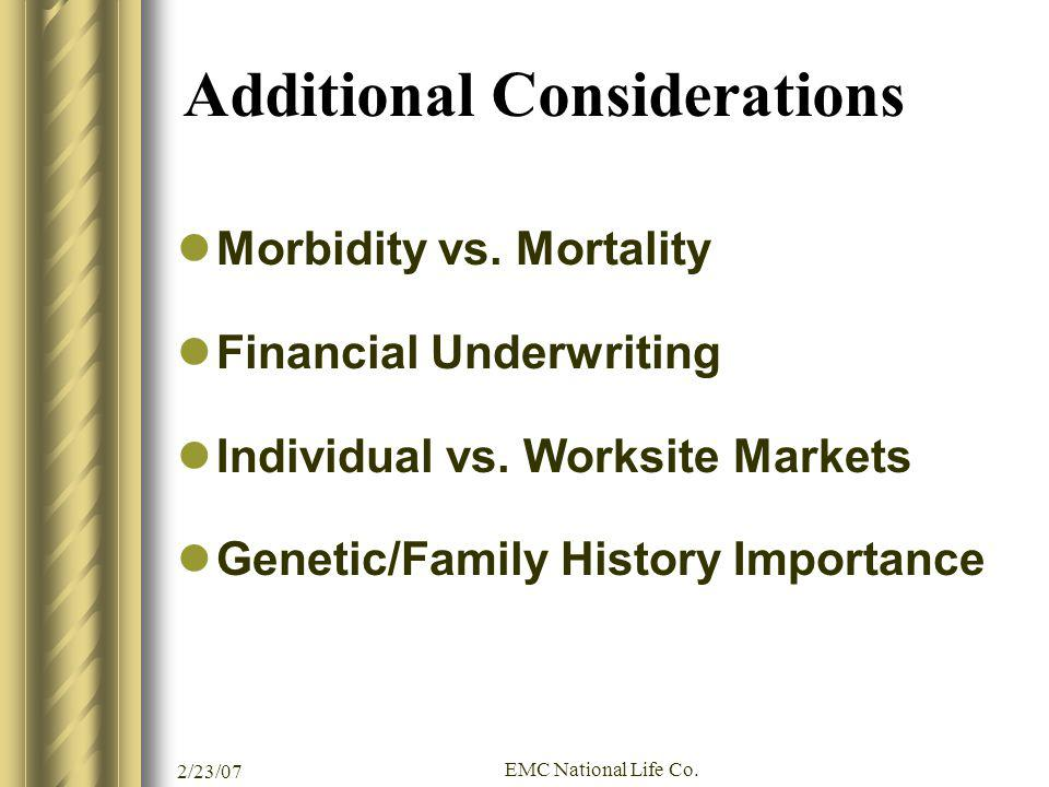 2/23/07 EMC National Life Co. Additional Considerations Morbidity vs. Mortality Financial Underwriting Individual vs. Worksite Markets Genetic/Family