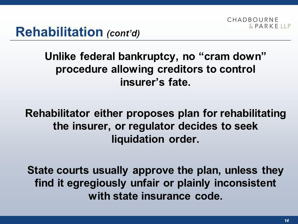 14 Rehabilitation (contd) Unlike federal bankruptcy, no cram down procedure allowing creditors to control insurers fate.