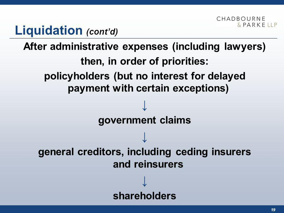 19 Liquidation (contd) After administrative expenses (including lawyers) then, in order of priorities: policyholders (but no interest for delayed payment with certain exceptions) government claims general creditors, including ceding insurers and reinsurers shareholders
