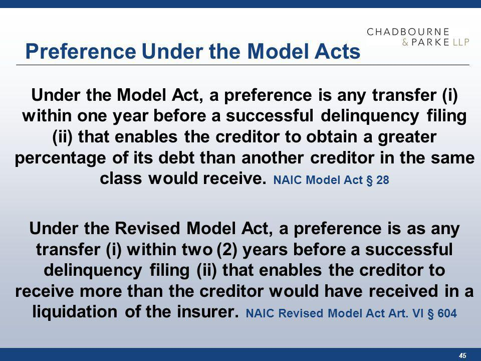 45 Preference Under the Model Acts Under the Model Act, a preference is any transfer (i) within one year before a successful delinquency filing (ii) that enables the creditor to obtain a greater percentage of its debt than another creditor in the same class would receive.