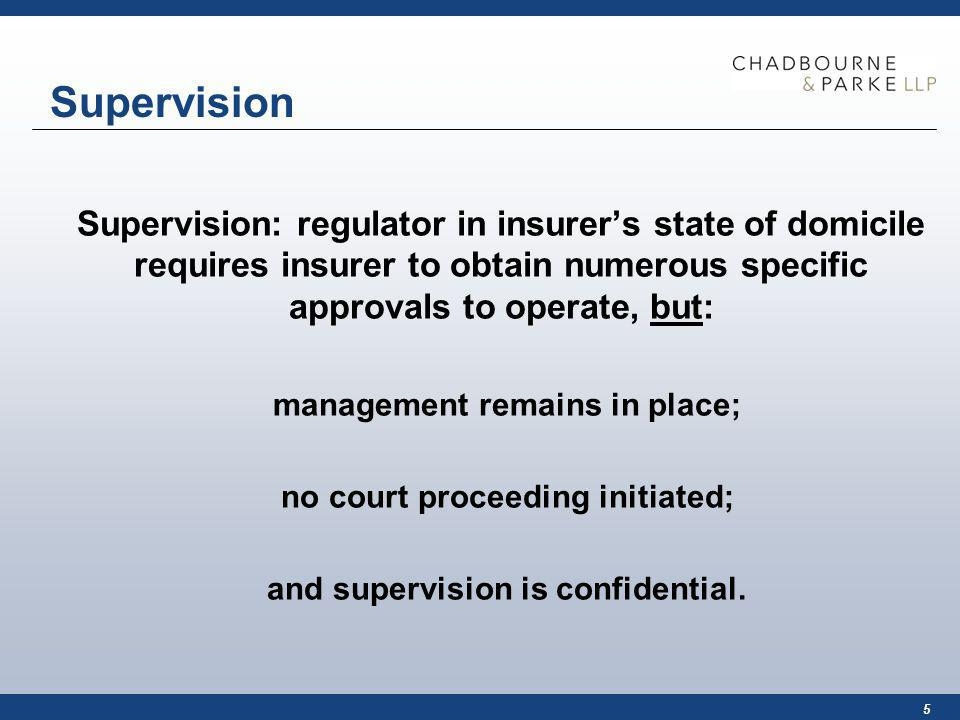5 Supervision Supervision: regulator in insurers state of domicile requires insurer to obtain numerous specific approvals to operate, but: management remains in place; no court proceeding initiated; and supervision is confidential.