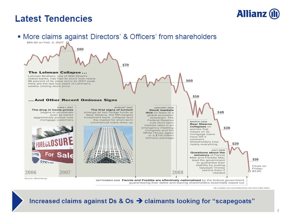 7 Increased claims against Ds & Os claimants looking for scapegoats More claims against Directors & Officers from shareholders