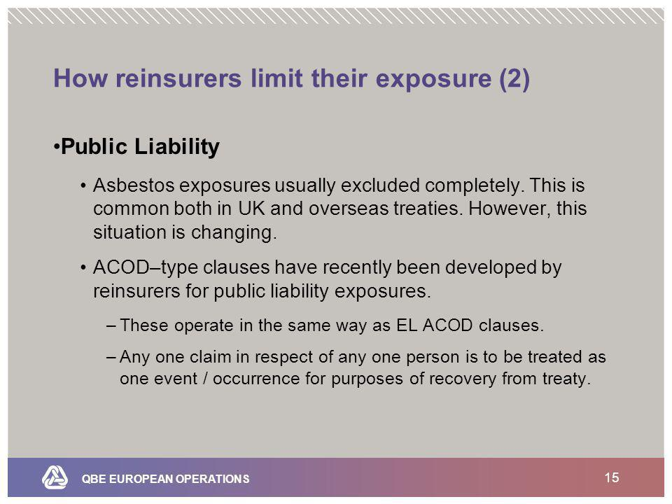 QBE EUROPEAN OPERATIONS 15 How reinsurers limit their exposure (2) Public Liability Asbestos exposures usually excluded completely.