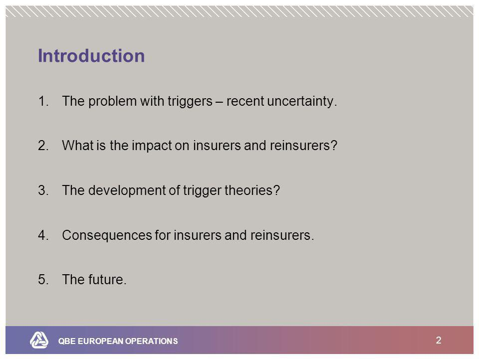 QBE EUROPEAN OPERATIONS 2 Introduction 1.The problem with triggers – recent uncertainty.
