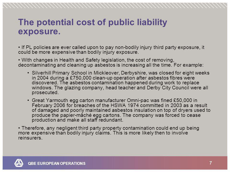 QBE EUROPEAN OPERATIONS 7 The potential cost of public liability exposure.