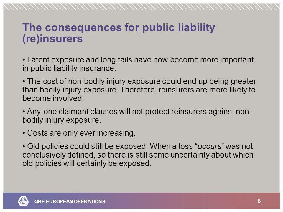 QBE EUROPEAN OPERATIONS 8 The consequences for public liability (re)insurers Latent exposure and long tails have now become more important in public liability insurance.
