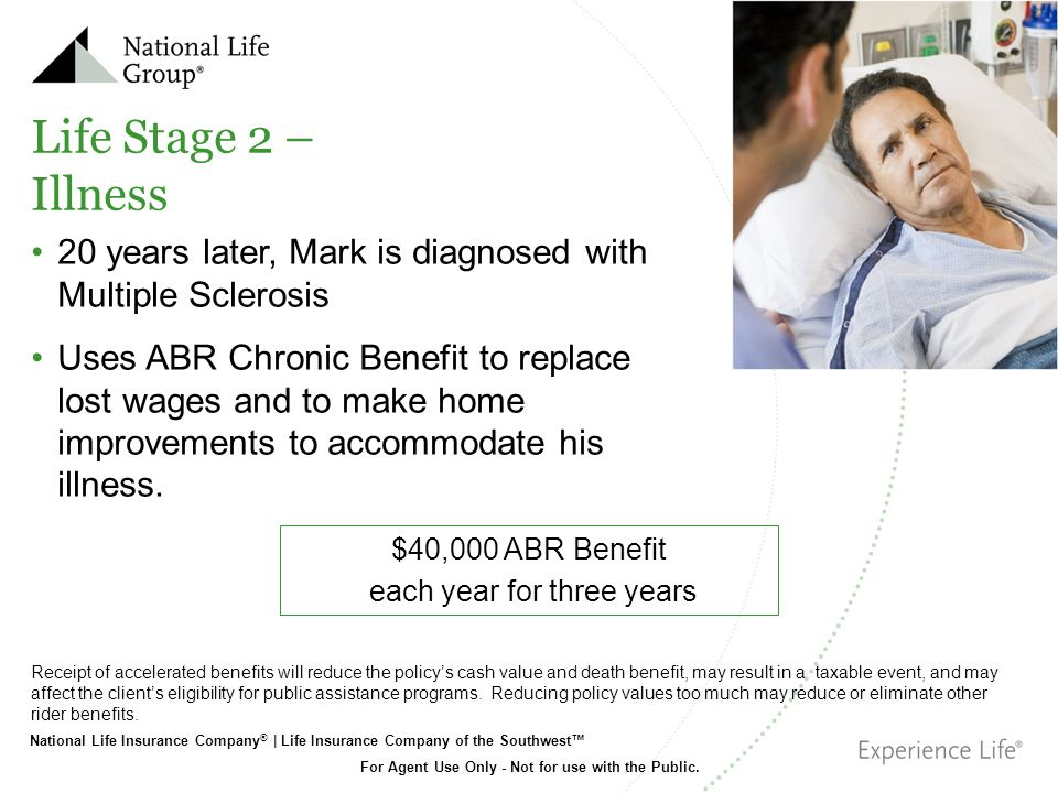 National Life Insurance Company ® | Life Insurance Company of the Southwest For Agent Use Only - Not for use with the Public. Life Stage 2 – Illness 2