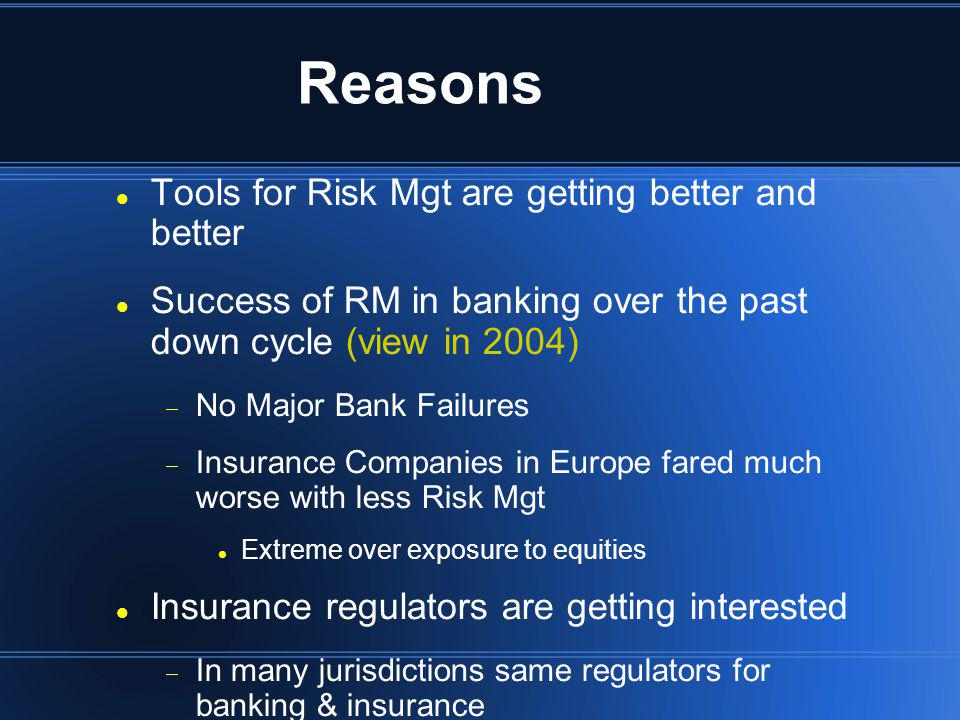 Reasons Tools for Risk Mgt are getting better and better Success of RM in banking over the past down cycle (view in 2004) No Major Bank Failures Insur