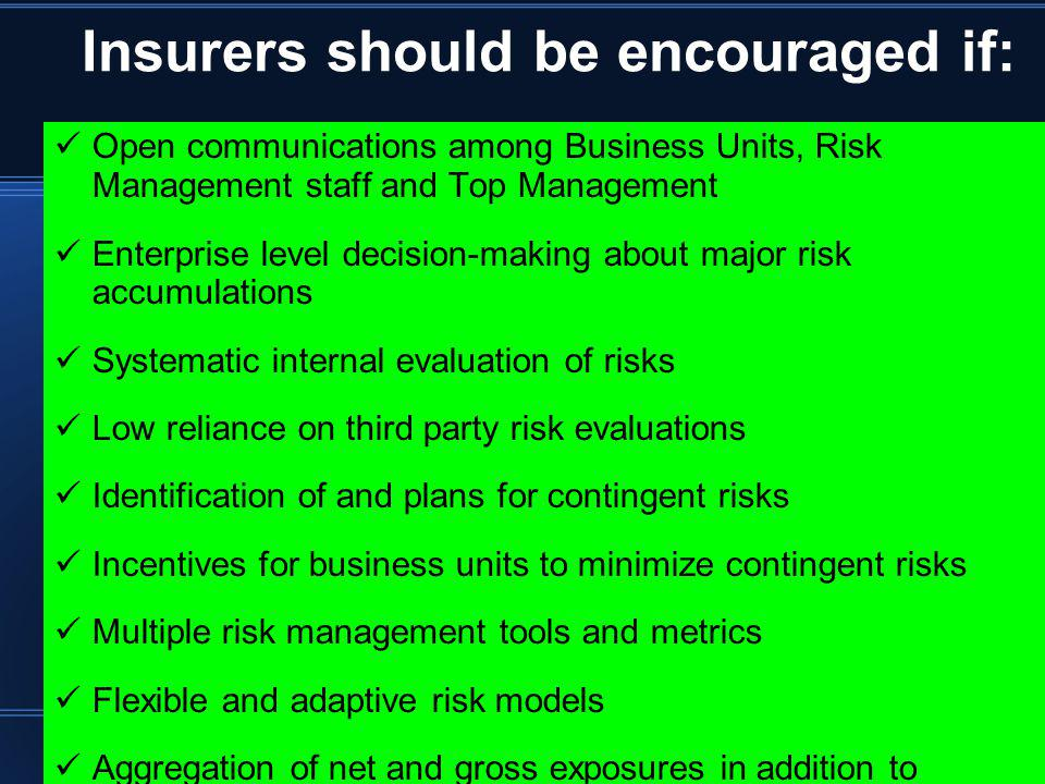 Insurers should be encouraged if: Open communications among Business Units, Risk Management staff and Top Management Enterprise level decision-making