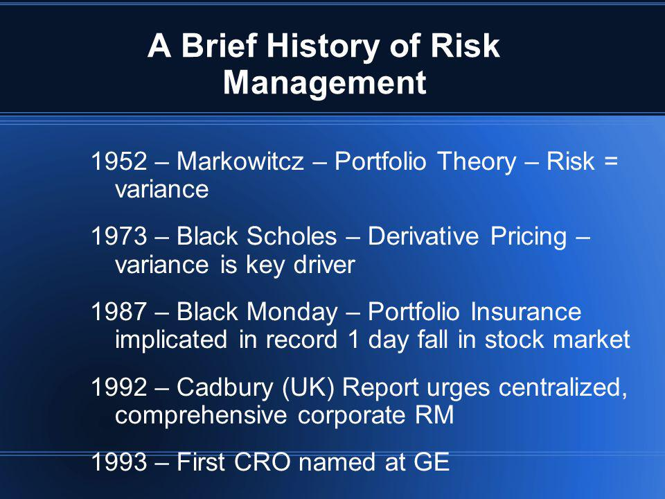Key Points from Intro 1.Risk Management has evolved over many years.
