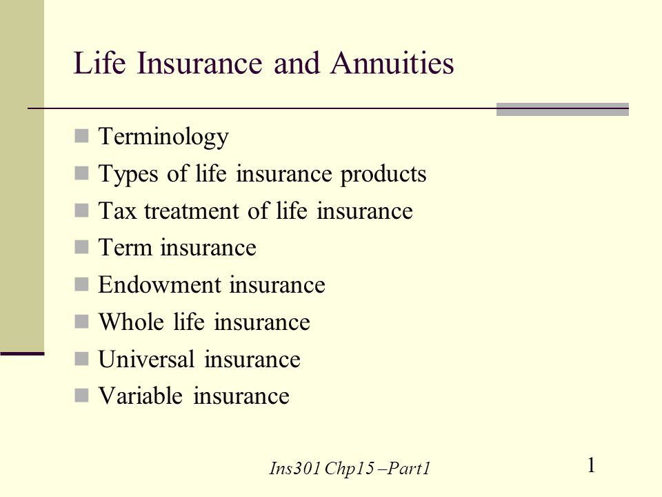 1 Ins301 Chp15 –Part1 Life Insurance and Annuities Terminology Types of life insurance products Tax treatment of life insurance Term insurance Endowment insurance Whole life insurance Universal insurance Variable insurance