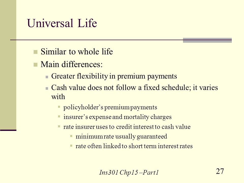 27 Ins301 Chp15 –Part1 Universal Life Similar to whole life Main differences: Greater flexibility in premium payments Cash value does not follow a fixed schedule; it varies with policyholders premium payments insurers expense and mortality charges rate insurer uses to credit interest to cash value minimum rate usually guaranteed rate often linked to short term interest rates