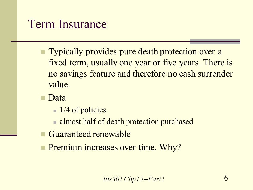 6 Ins301 Chp15 –Part1 Term Insurance Typically provides pure death protection over a fixed term, usually one year or five years.