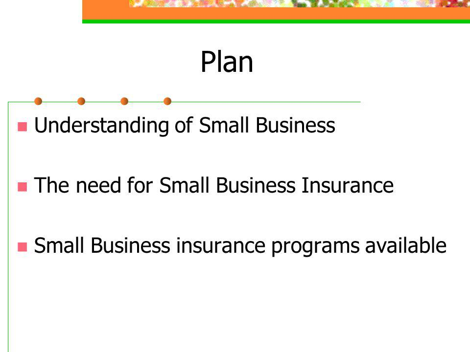 Plan Understanding of Small Business The need for Small Business Insurance Small Business insurance programs available