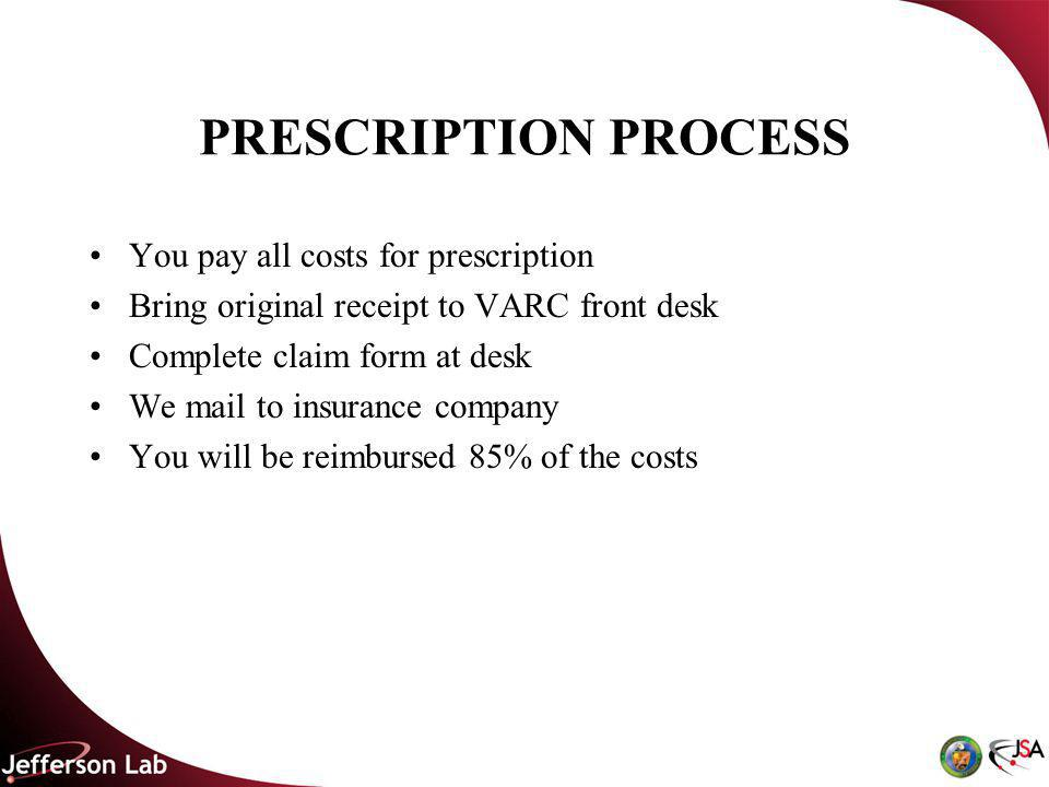 PRESCRIPTION PROCESS You pay all costs for prescription Bring original receipt to VARC front desk Complete claim form at desk We mail to insurance company You will be reimbursed 85% of the costs