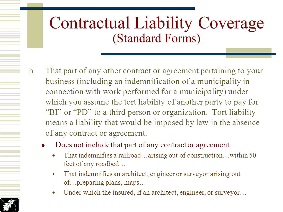 Insured Contract Definition – Insured Contract means: a) A contract for a lease of premises… b) A sidetrack agreement c) Any easement or license agree