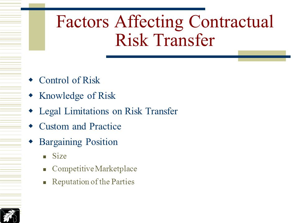 Factors Affecting Contractual Risk Transfer Control of Risk Knowledge of Risk Legal Limitations on Risk Transfer Custom and Practice Bargaining Position Size Competitive Marketplace Reputation of the Parties