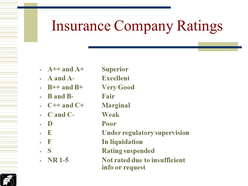 A.M. Best A VII or better Insurance Company Ratings