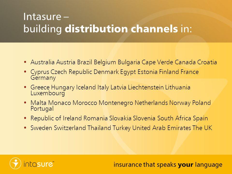 insurance that speaks your language Intasure – building distribution channels in: Australia Austria Brazil Belgium Bulgaria Cape Verde Canada Croatia