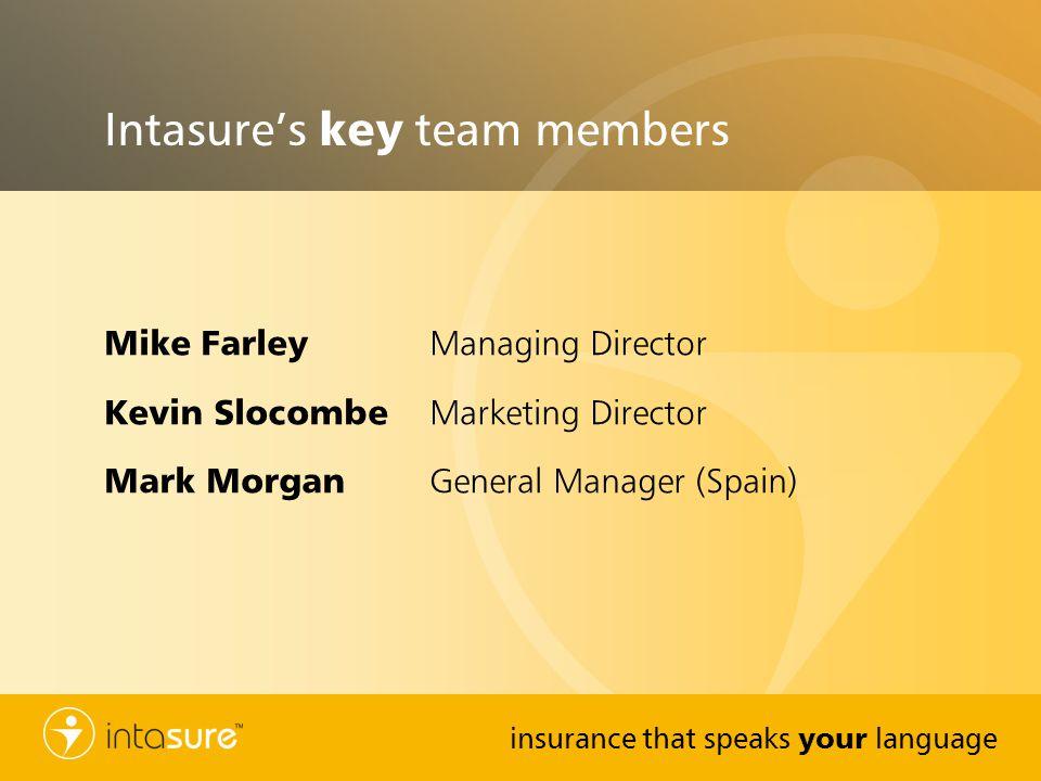 insurance that speaks your language Intasures key team members Mike Farley Managing Director Kevin Slocombe Marketing Director Mark Morgan General Man