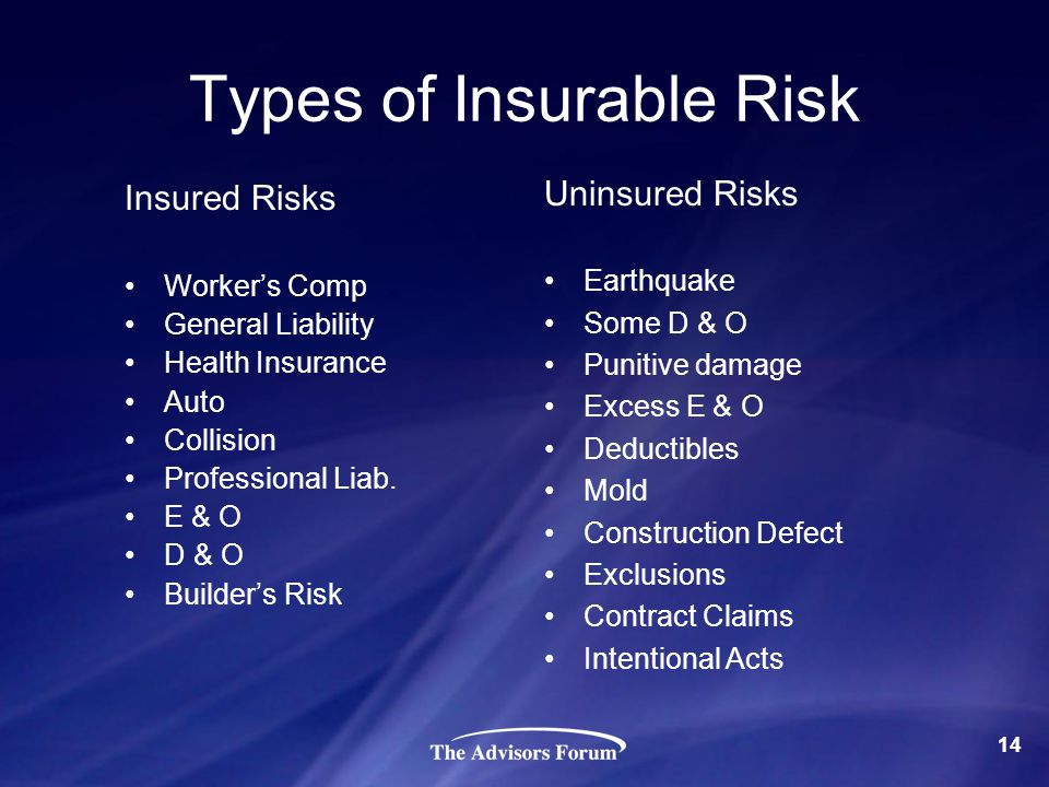 Types of Insurable Risk Insured Risks Workers Comp General Liability Health Insurance Auto Collision Professional Liab. E & O D & O Builders Risk Unin