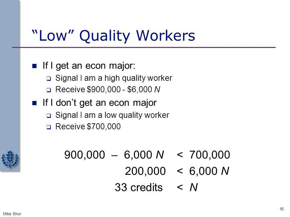 Low Quality Workers If I get an econ major: Signal I am a high quality worker Receive $900,000 - $6,000 N If I dont get an econ major Signal I am a lo