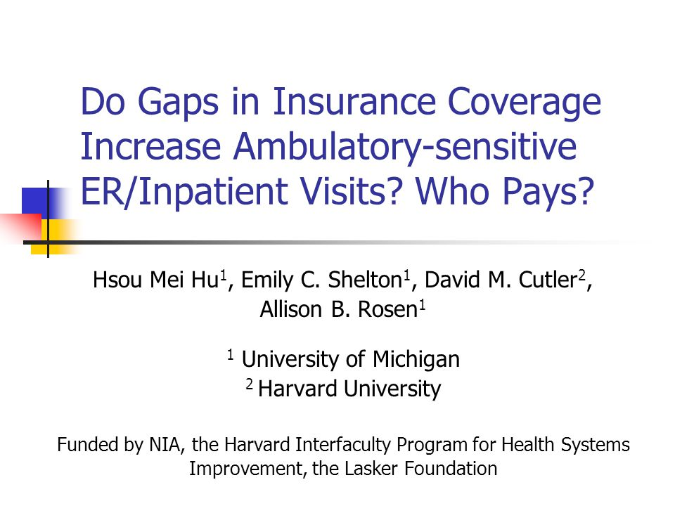 AcademyHealth ARM, 6/27/2006 Background Gaps in insurance coverage lead to the same level of barriers to care and financial difficulties as uninsurance (Schoen & DesRoches, 2000).