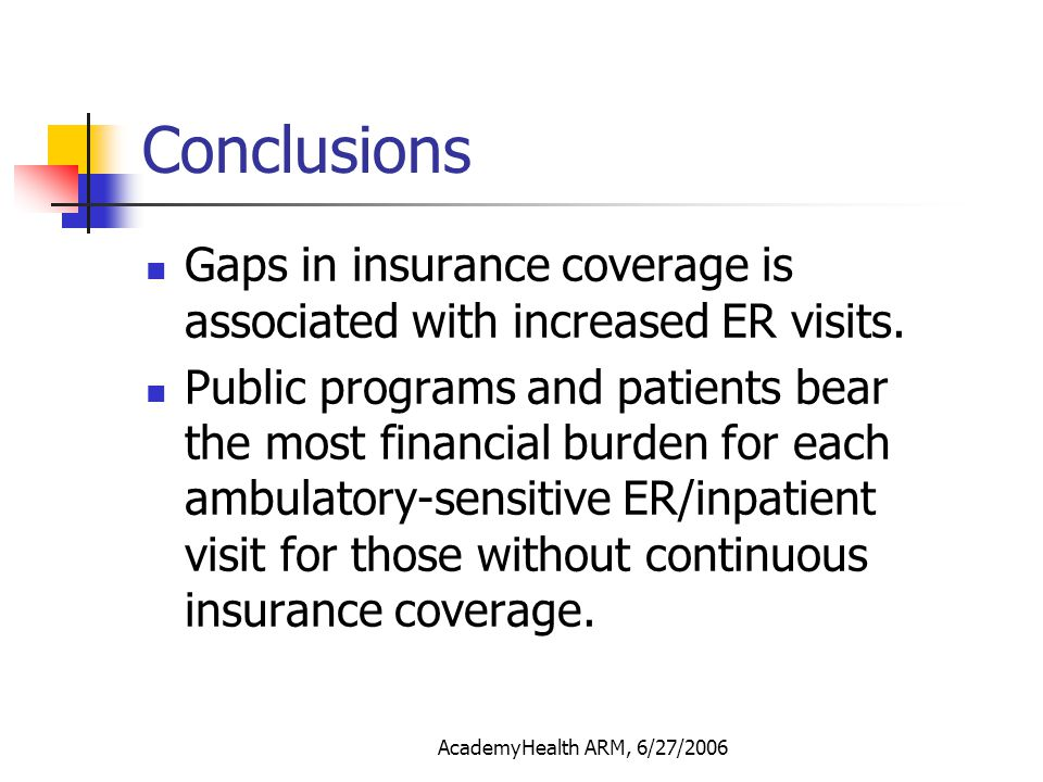 AcademyHealth ARM, 6/27/2006 Conclusions Gaps in insurance coverage is associated with increased ER visits. Public programs and patients bear the most