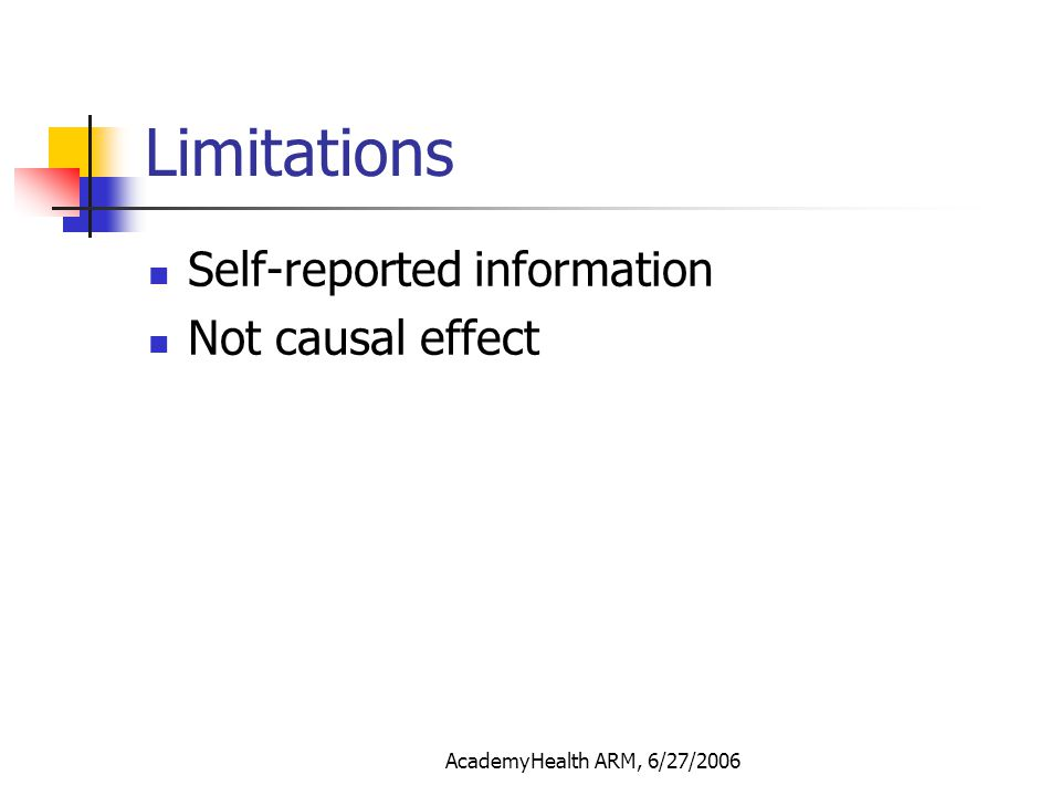 AcademyHealth ARM, 6/27/2006 Limitations Self-reported information Not causal effect