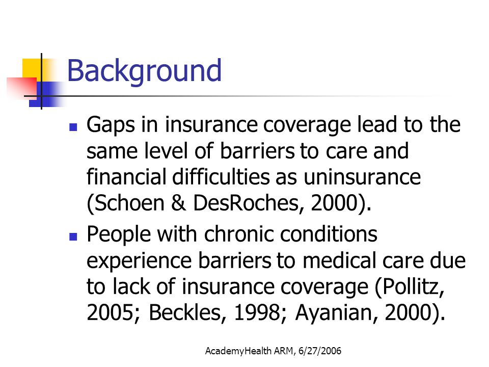 AcademyHealth ARM, 6/27/2006 Study Objectives To study the effect of gaps in insurance coverage on the use and spending of ER and inpatient care for adults (age 18 to 64) with diabetes or asthma.