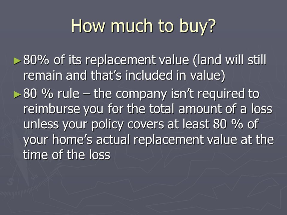 How much to buy? 80% of its replacement value (land will still remain and thats included in value) 80% of its replacement value (land will still remai