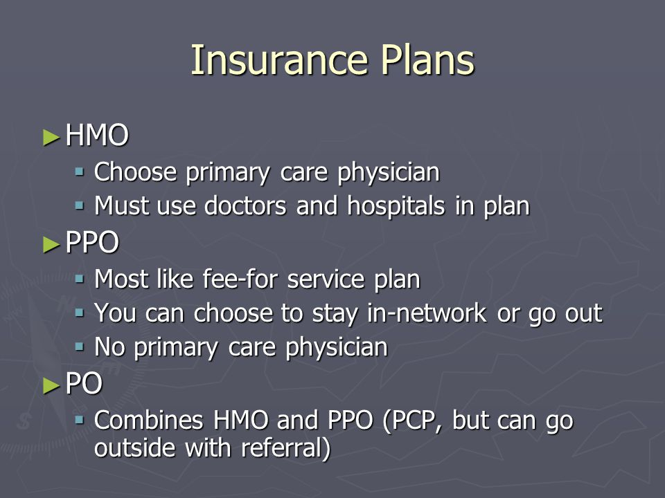 Insurance Plans HMO HMO Choose primary care physician Choose primary care physician Must use doctors and hospitals in plan Must use doctors and hospit